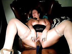 Mature slut gets drilled with multiple toys and sucks on a cock