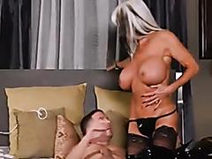 Busty blonde stunner sucks and rides on a throbbing shaft