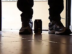 cans stomping by my barefeet