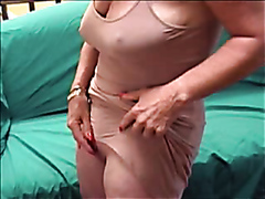 Lusty mature bitch enjoys fingering her large clitoris