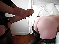 Lusty mistress fucks a horny stallion with a large strap-on
