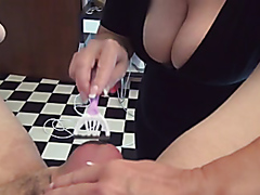 Kinky bitch enjoys fisting her man with both of her hands