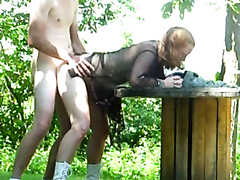 Slutty ginger bitch blow a cock and gets rammed hard