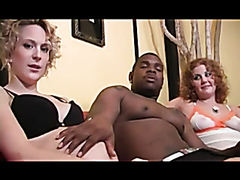 Two pregnant mommies enjoy sharing a monster black cock