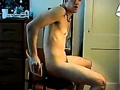 Hot guy rides a dildo