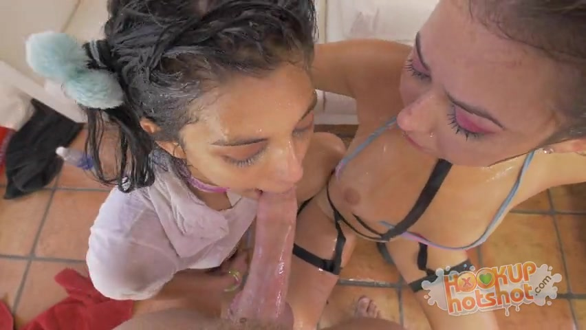 Two Girls Puke and Spit on Cock