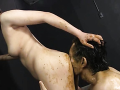 Wild Japanese women shit and puke on a slave man