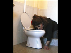 transvestite bristle clean bathroom with the mouth