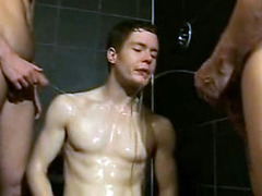 Cute twink gets pissed over in the shower