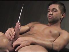 Gorgeous hunk with huge cock does some sounding