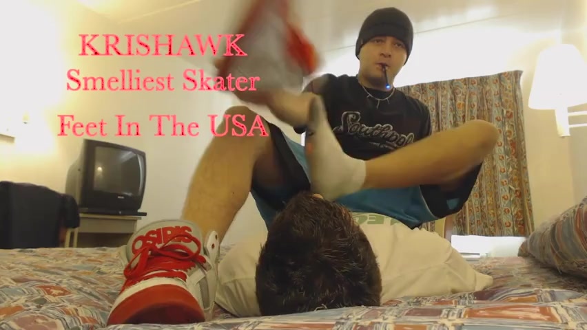 dominant skater teen forces twink to sniff socks, sneakers and feet