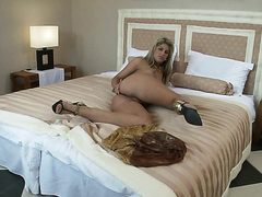 Blonde chick ass toying