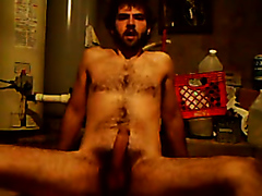 Hot hairy dude taking a dump