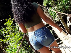 Natural busty Latina bangs by the river