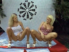 Nasty blondes pee on the open stage