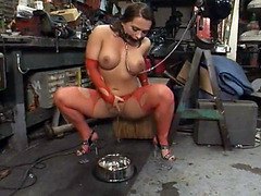 Slave babe shows leaking to her master