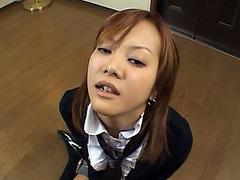 Asian teen cutie gets warm piss flow