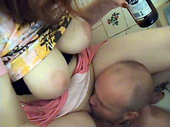 Plump cutie gives golden shower to her partner