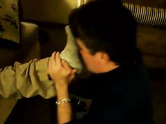 Older Slave Sniffs CashMaster's Smelly Socks