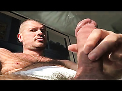 Hot guy jerks his big cock and plays with his cum