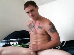 Hot straight guy jerking off
