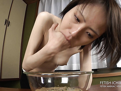 Skinny Asian girl pukes a gallon