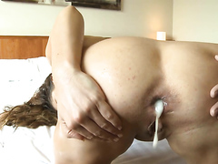 Awesome anal and dripping creampie