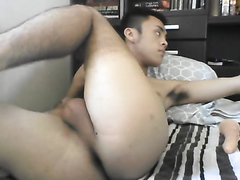 Asian boy rides dildo 4