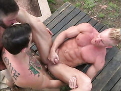 muscle guys playing outdoor