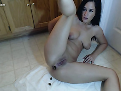 Scat fetish loving all natural young rookie covered in her own shit