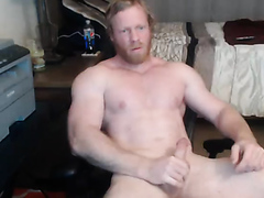 Muscled Viking Masturbating