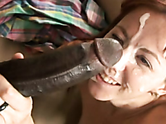Cute girl takes massive facial from huge black cock