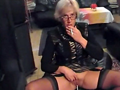 Granny smoking and pissing
