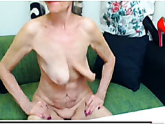 Horny old granny with swinging hangers