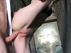Outdoor quick anal fucking with creampie