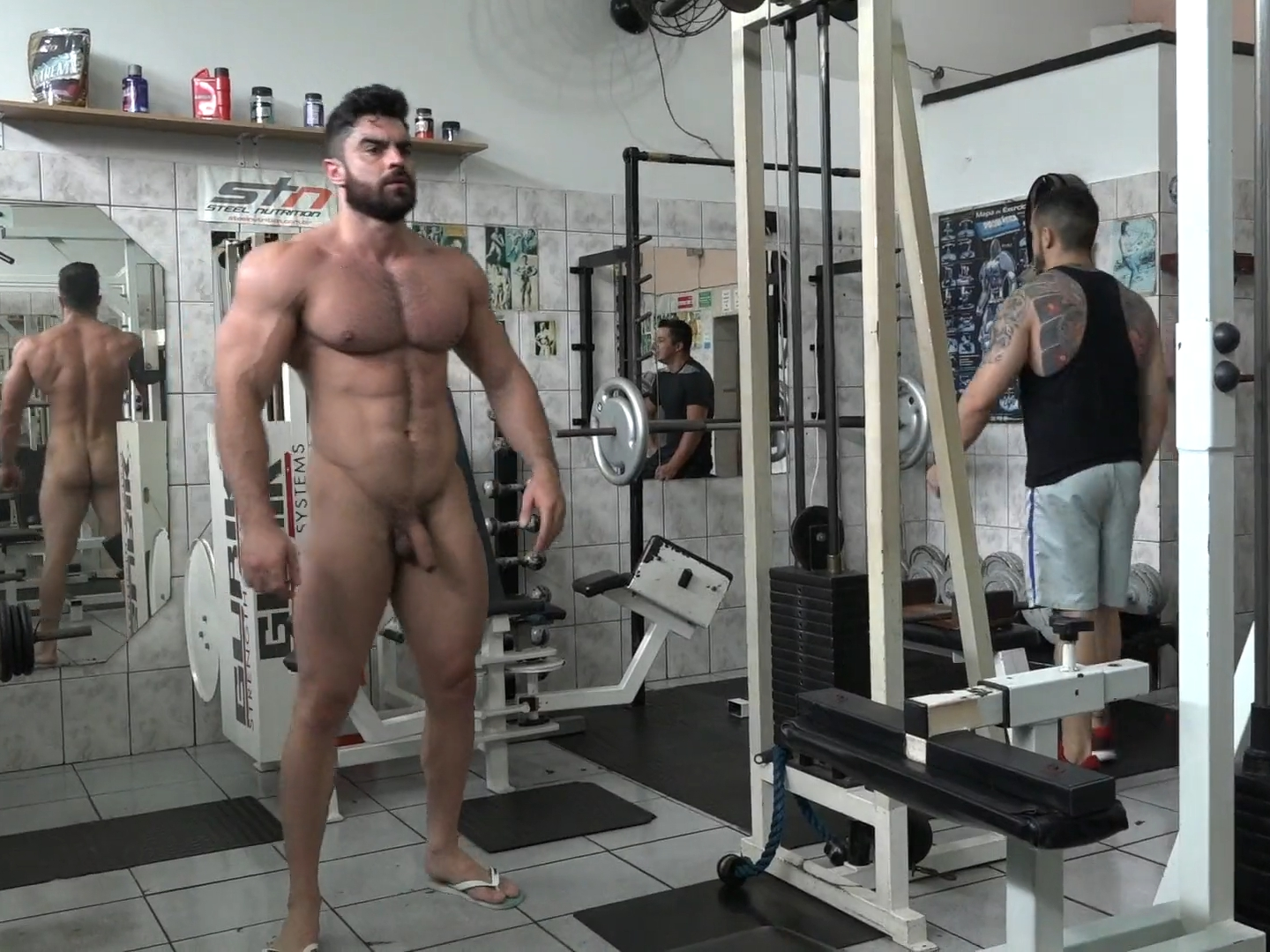 Naked men in the gym