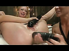 Lesbian anal dildoing and fist playing