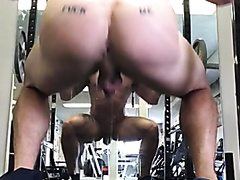 Hot muscular dude squatting naked