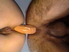 Experienced lovers bounce on double dildo