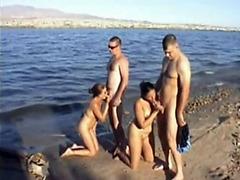Nudist girls are sucking off cum in public