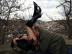 Warmth and taste of hungry pussy in public park