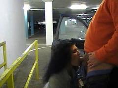 Oral sex scene on a public parking