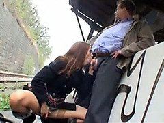 Girl sucking cock on a train station