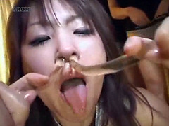 Young Asian bitch takes male piss in the nose