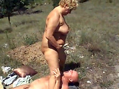 Foursome action with two grannies, old man and his son