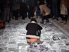 Avant-garde peeing party on the black and white photos