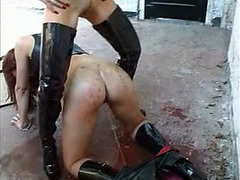 Dirty slave and her female master in the defiant scene