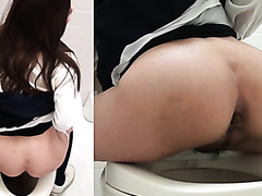 Japanese beautiful women pooping on the toilet with a nice soundtrack