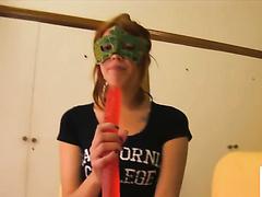 Masked girl pukes sperm and dildos