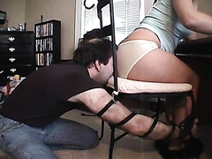 Wife farts on a slave hubby